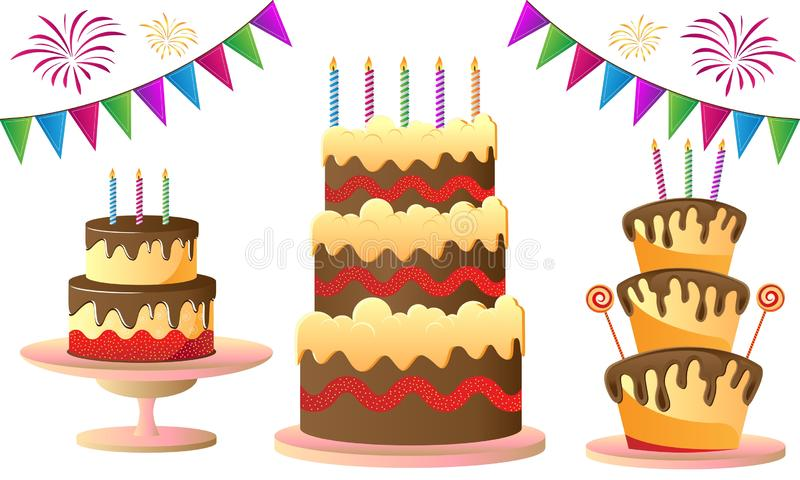 Birthday cake for celebration stock illustration