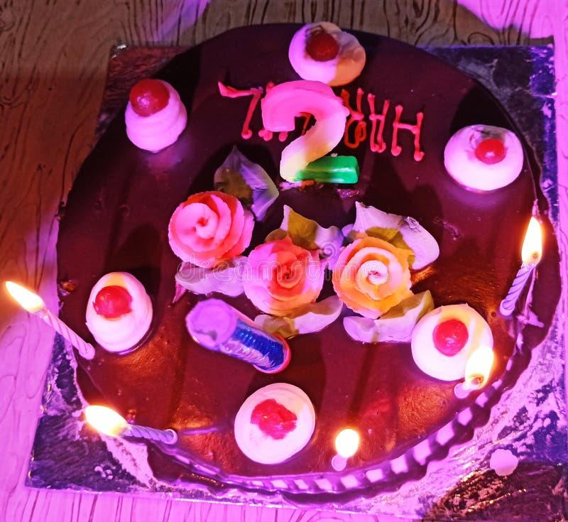 Birthday cake celebration in home stock photo