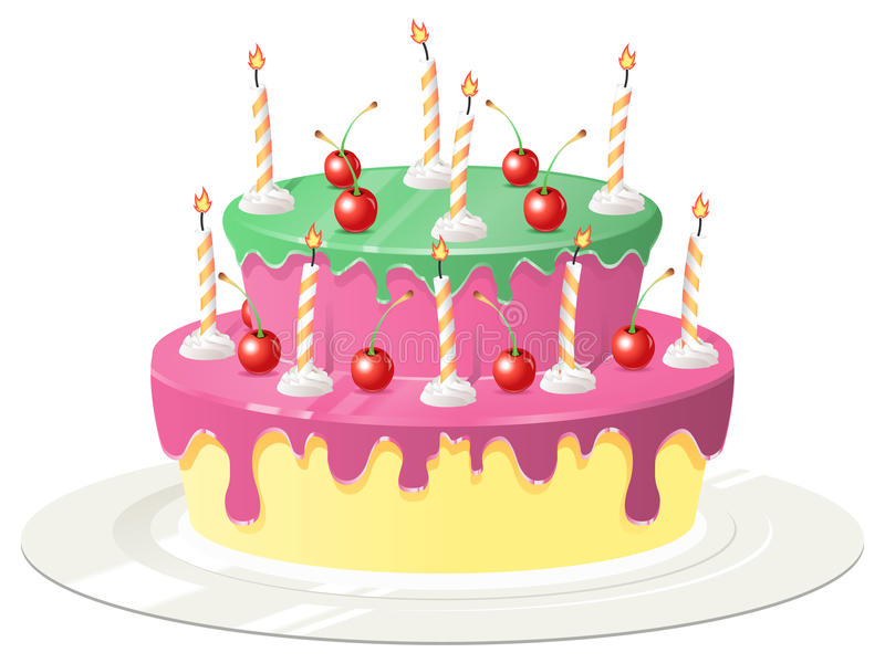 Birthday Cake with Cherries and Candles. An birthday cake with candles stuck into whip cream and red cherries on top of pink and green frosting stock illustration