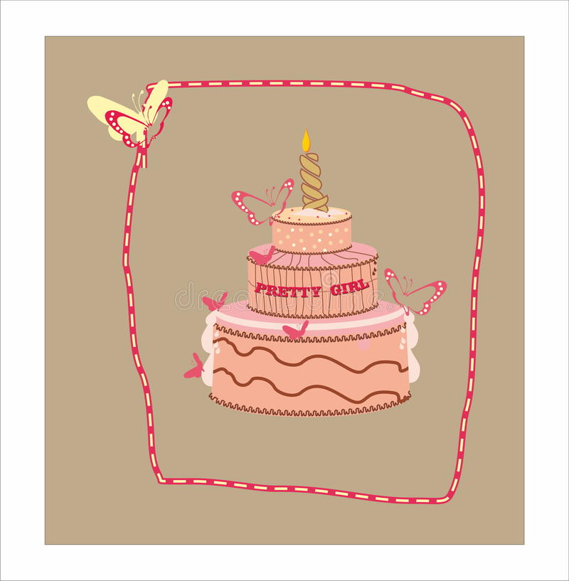 Birthday cake. Birthday chocolate cake with candle for pretty girl vector illustration