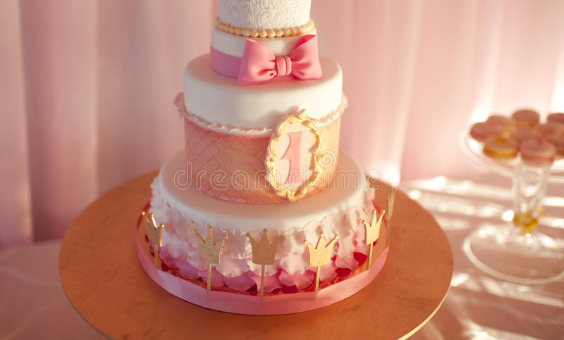 Birthday cake. With closeup. Wedding day. Decorations stock photography