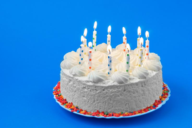 Birthday cake. On a colored background royalty free stock photos