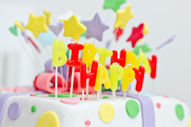 Birthday cake. With colorful decoration royalty free stock photos