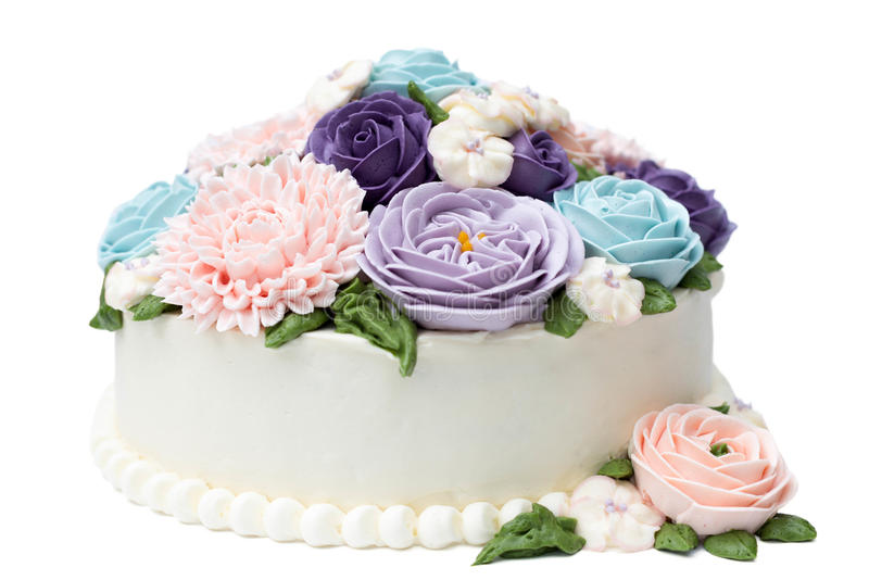Birthday cake with colorful flowers isolated. On white background stock photos