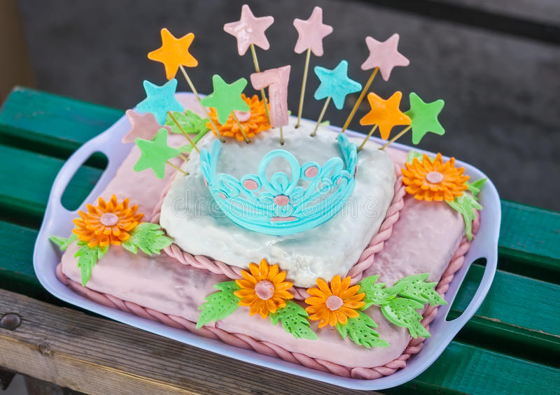 Birthday Cake With Colorful Flowers Stock Photo Image of flower