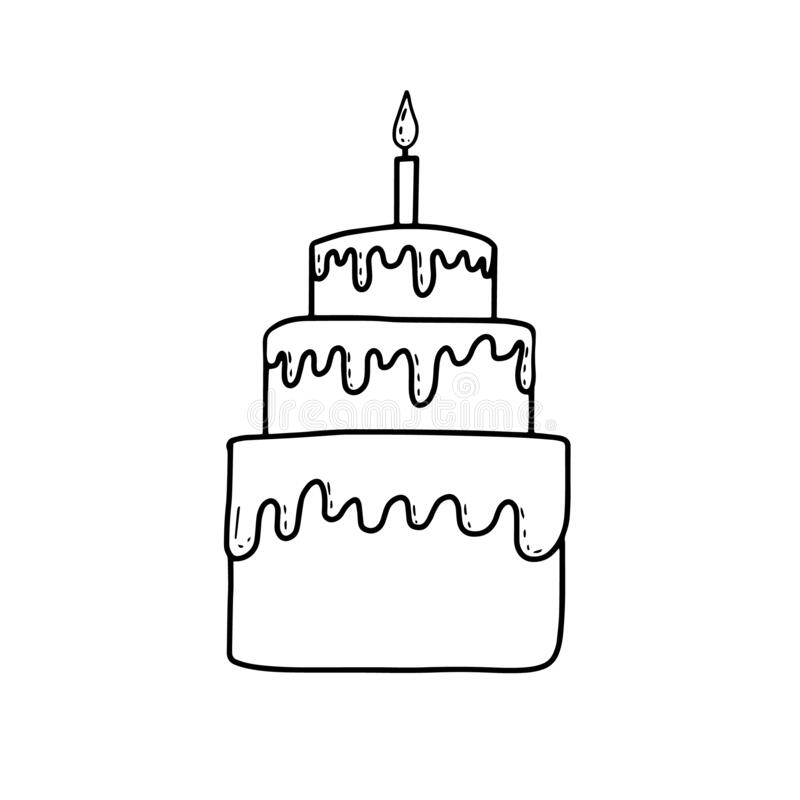 Birthday Cake Coloring Book Cake Candle In Cartoon Style On White Background Happy Birthday Party Vector Doodle Background Stock Illustration Illustration Of Cute Event 170717844