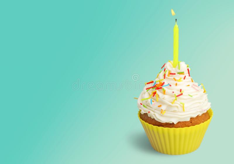 Birthday Cake. Cupcake Candle Isolated Single Object White Orange stock images