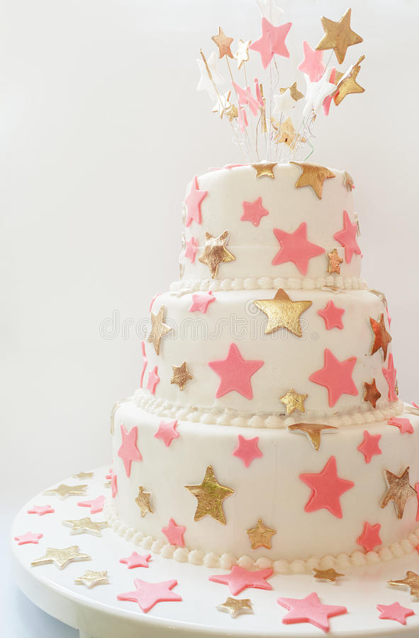 Birthday Cake. Decorated with stars made of sugar royalty free stock photography
