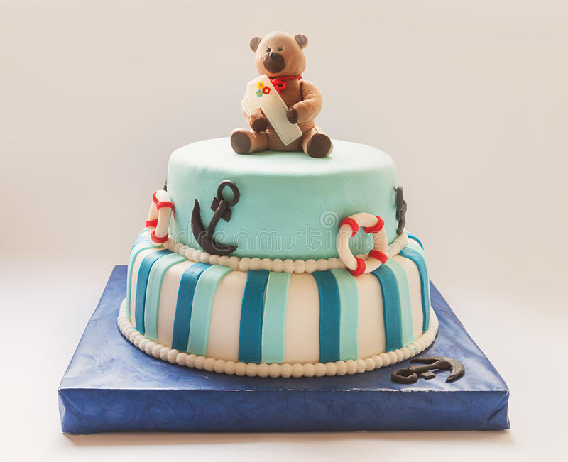 Birthday Cake. Details of a first year birthday cake in blue, for boy stock photos