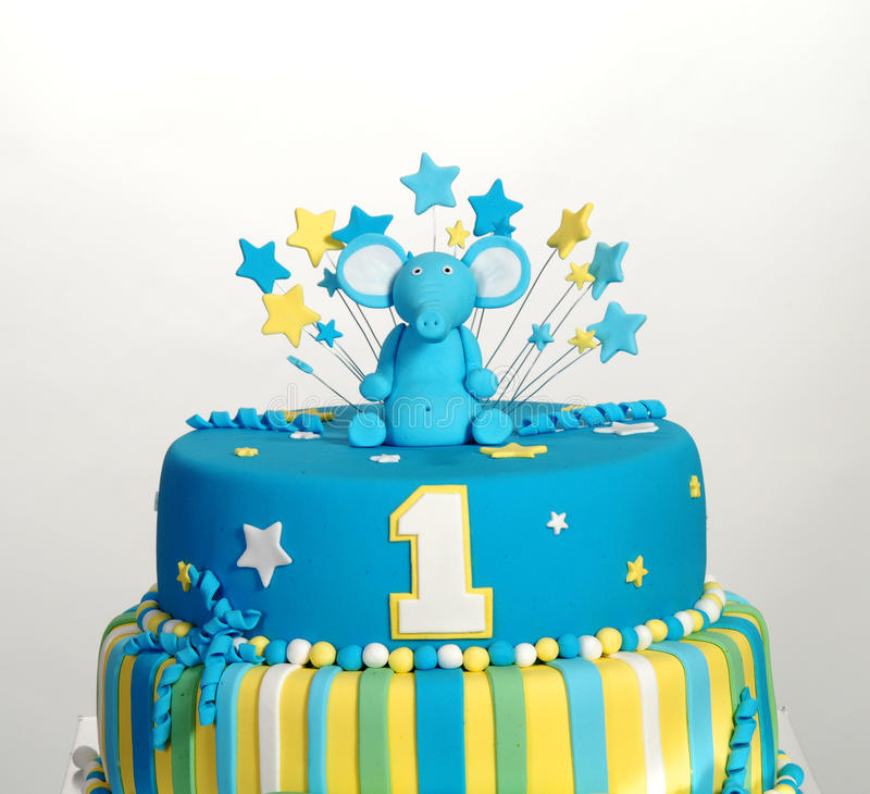 Birthday Cake With Elephant Figurine Stock Image Image Of Funny
