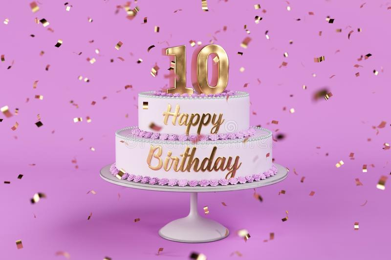 Birthday cake with golden letters and numer 10 on top. Birthday cake with golden letters and rose background 3d Illustration royalty free illustration