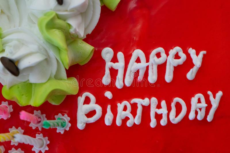 Birthday cake with good wish message written on the top with homemade cream. Surprise party celebration with special letters and. Wish, happy, buttercream royalty free stock photo