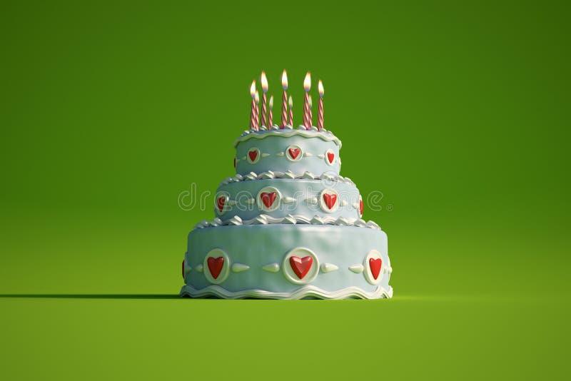 Birthday cake green stock illustration
