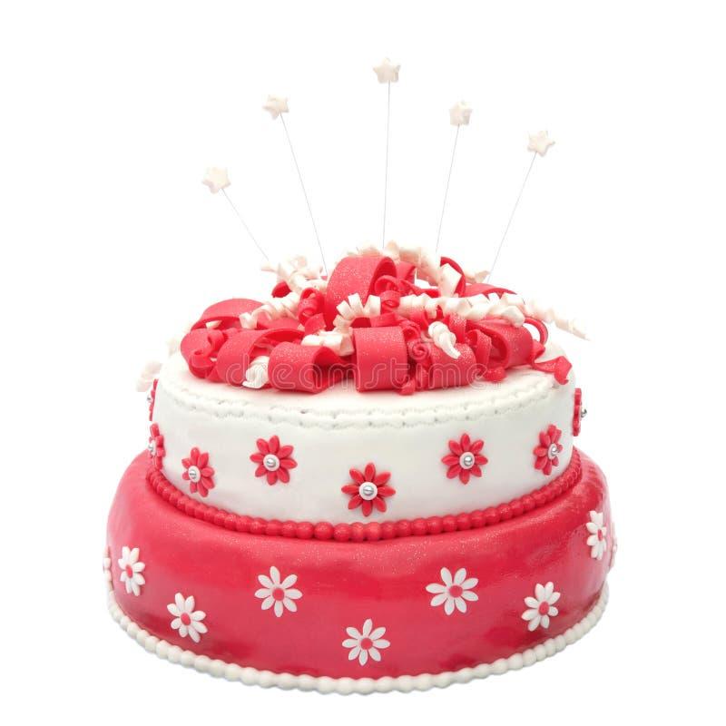 Birthday cake. Homemade birthday cake with stars isolated on white royalty free stock photos
