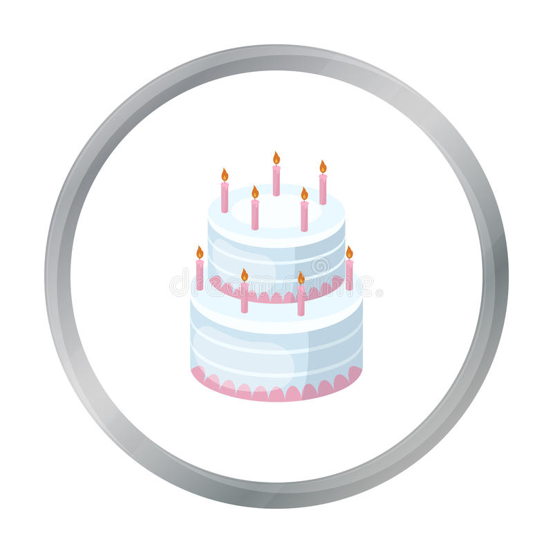 Birthday Cake Icon In Cartoon Style Isolated On White Background