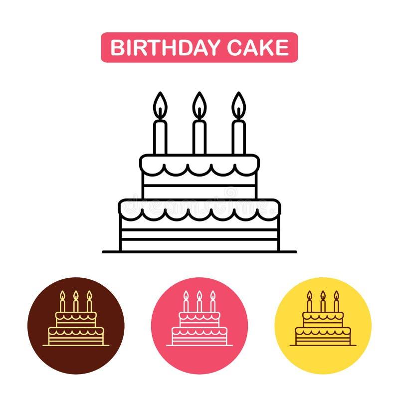 Birthday Cake Icon On White Background Stock Vector Illustration