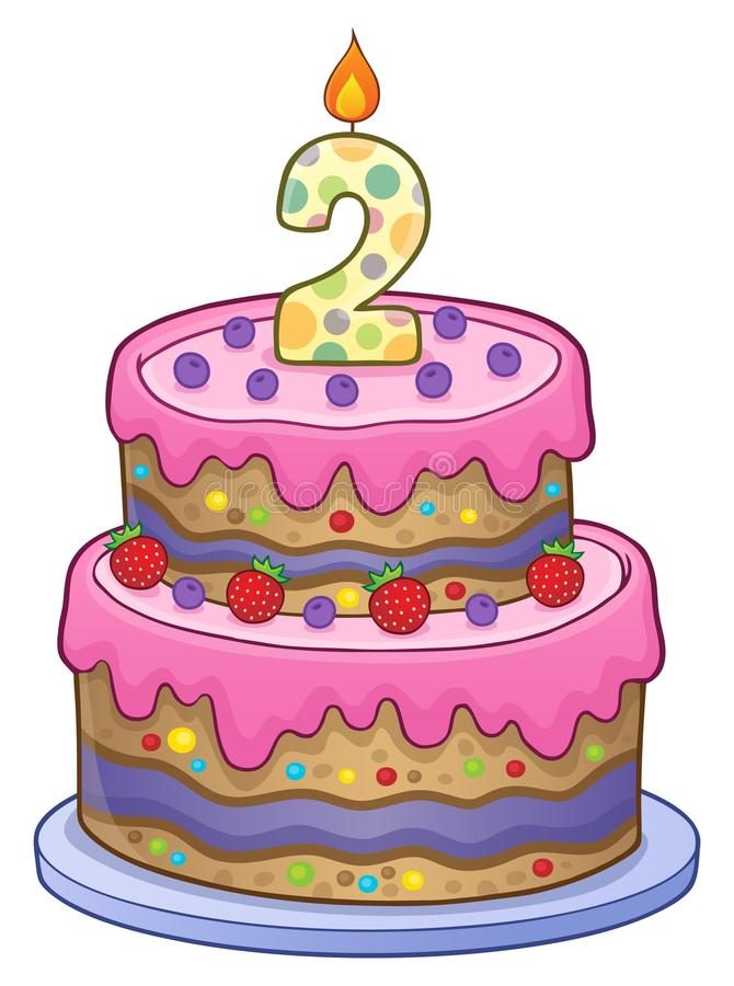 Birthday Cake Image For 2 Years Old Stock Vector Illustration of