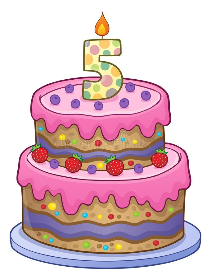 Birthday cake image for 5 years old. Eps10 vector illustration royalty free illustration
