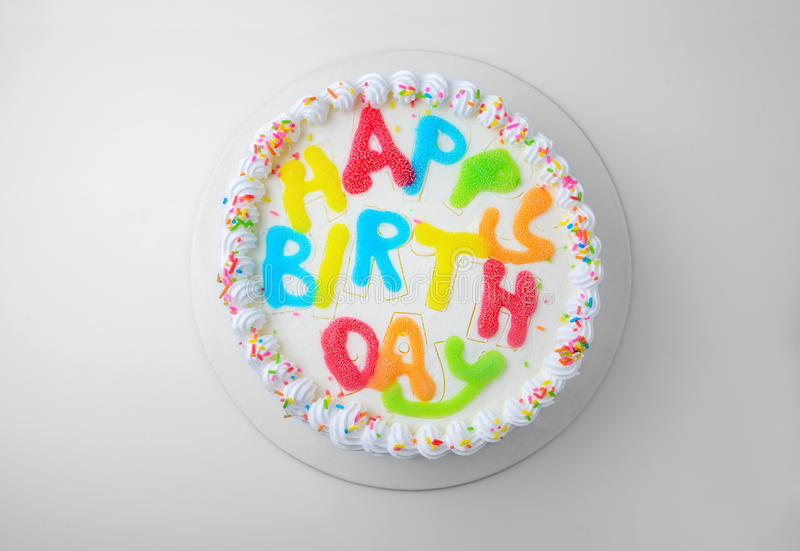 Birthday cake. Isolated on white with clipping path stock photography