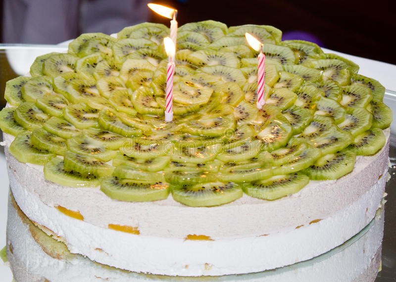 Birthday cake with kiwi stock image Image of bisquit 40735809