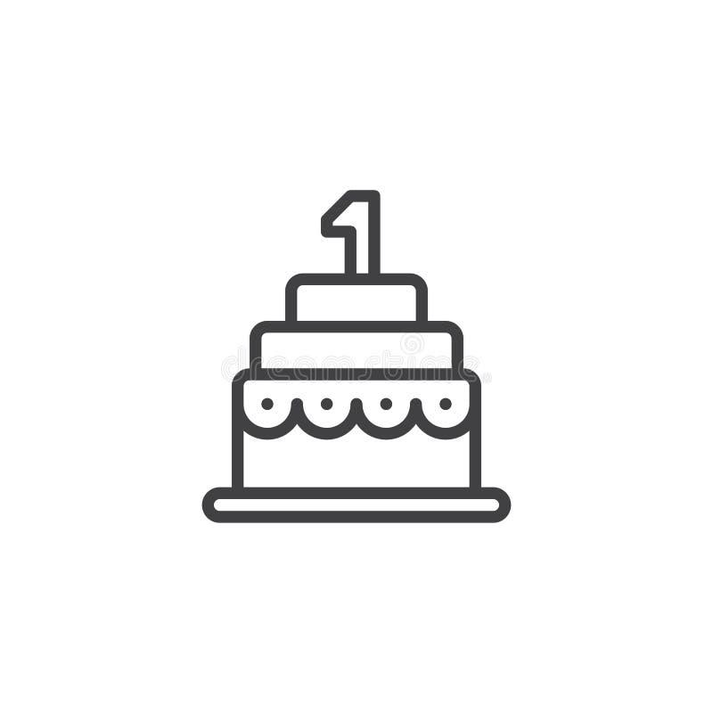 Birthday Cake Line Icon Stock Vector Illustration Of Sweet 106369645