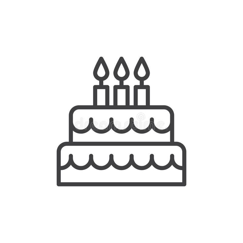Birthday Cake Line Icon Outline Vector Sign Linear Style Pictogram
