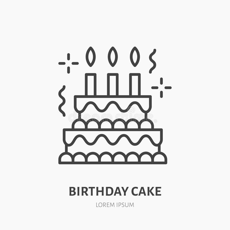 Birthday cake line icon. Vector logo for bakery, party. Service. Tasty torte thin linear symbol for event agency. Linear illustration of dessert stock illustration