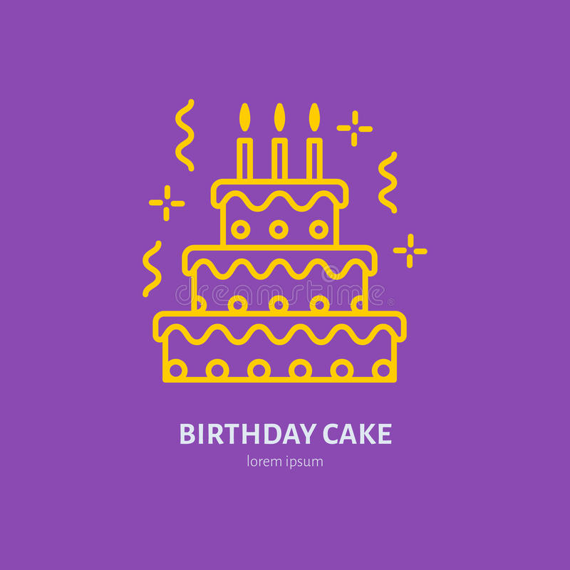 Birthday Cake Line Icon Vector Logo For Bakery Party Service