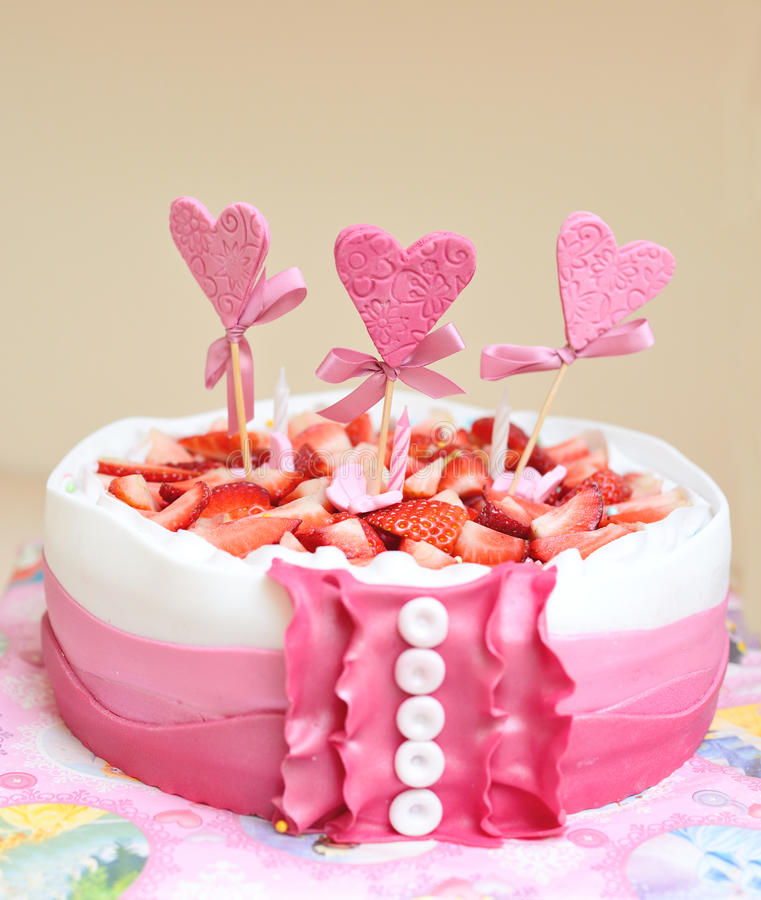 Birthday cake. For little girl stock photo