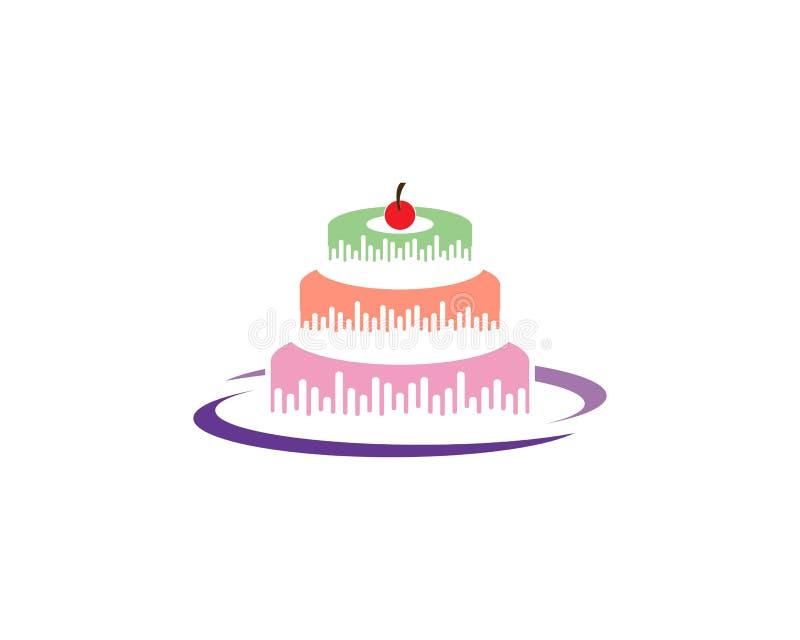 Birthday cake logo vector template vector illustration