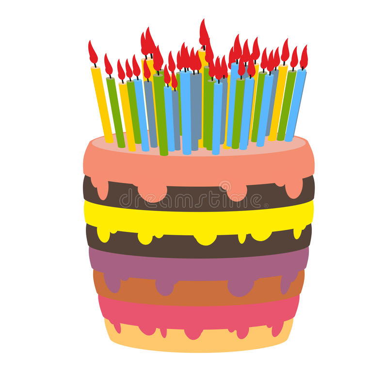 Birthday Cake And Lots Of Candles Stock Vector Illustration Of