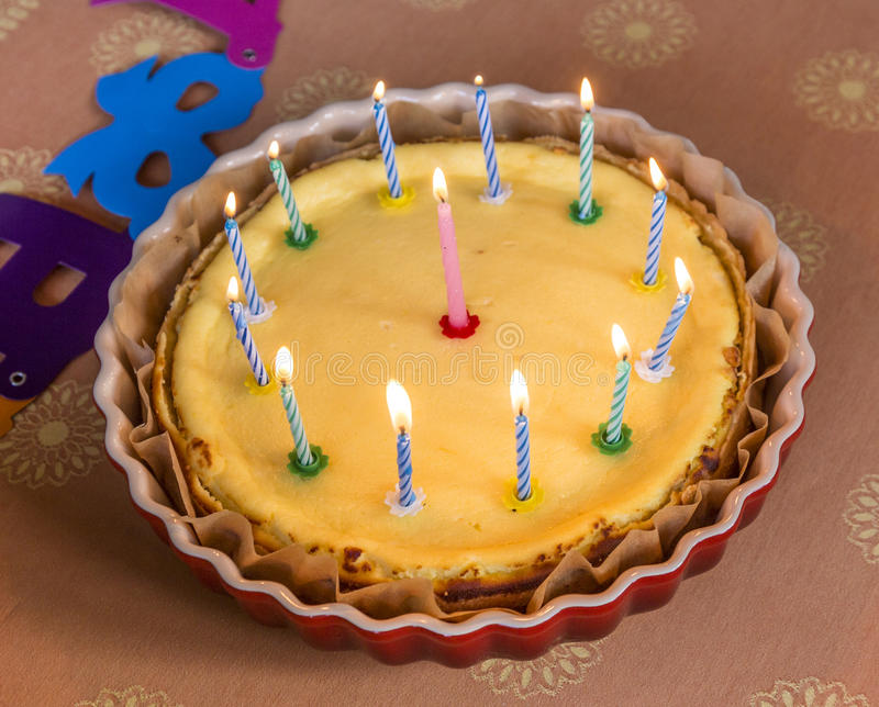 Birthday Cake With Lots Of Candles Stock Photo Image Of Burning