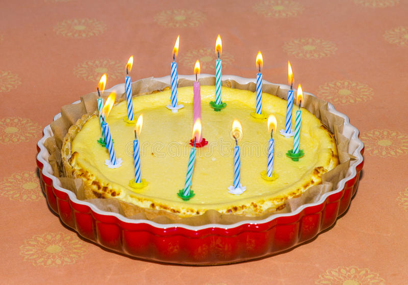 Birthday Cake With Lots Of Candles Stock Image Image Of Background