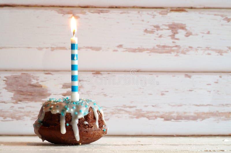 Birthday cake. Mini gugelhupf birthday cake maritime style royalty free stock images