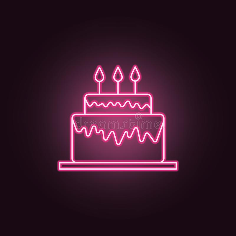 Birthday cake neon icon. Elements of Party set. Simple icon for websites, web design, mobile app, info graphics vector illustration