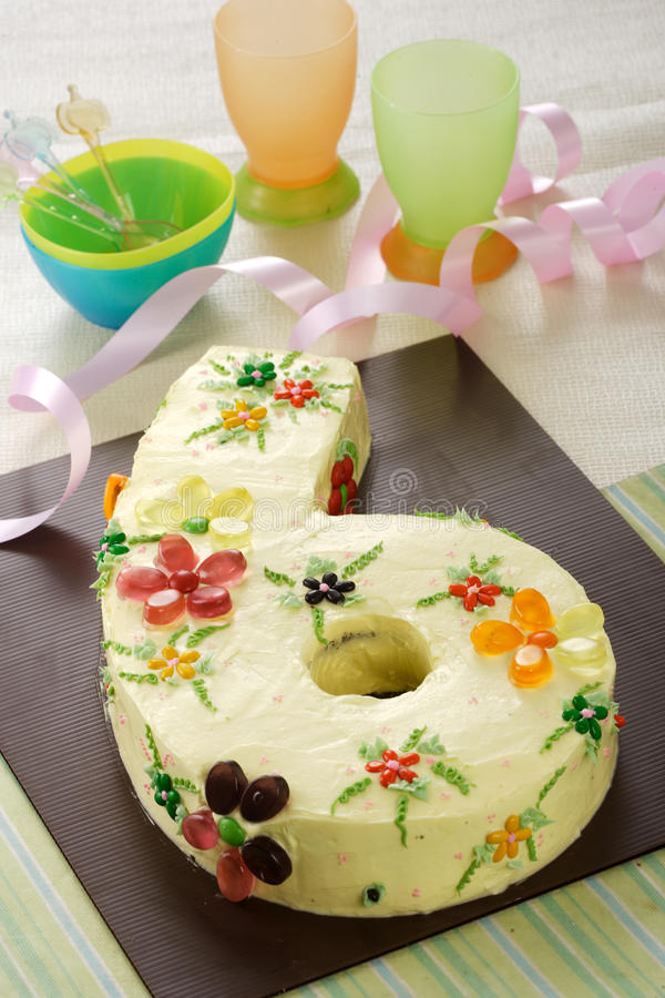 Birthday cake. Nice and beautiful birthday cake in six number stock images