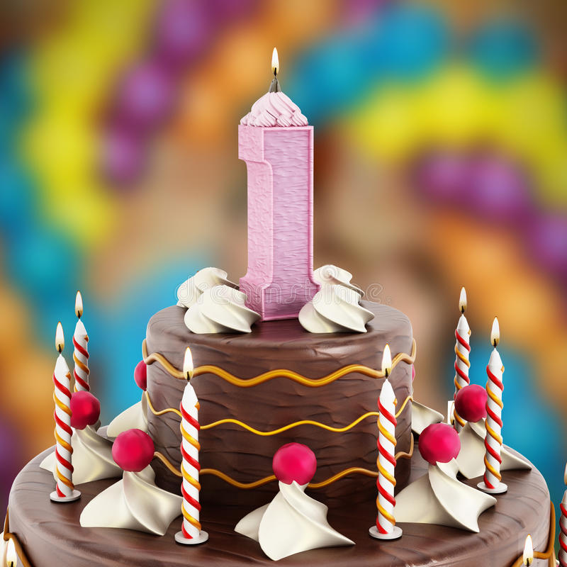 Birthday cake with number 1 lit candle royalty free stock image