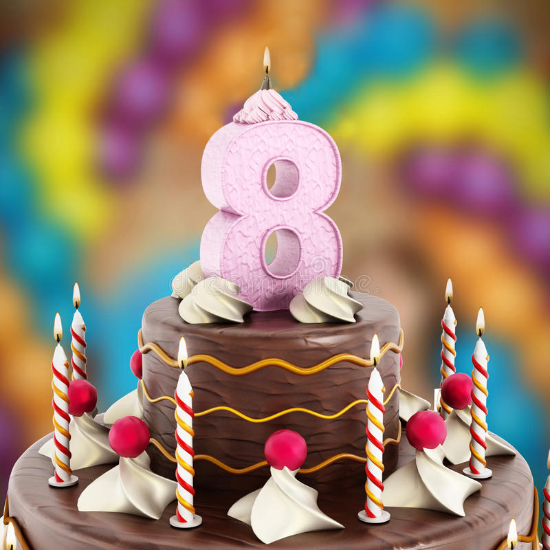 Birthday cake with number 8 lit candle.  stock photos