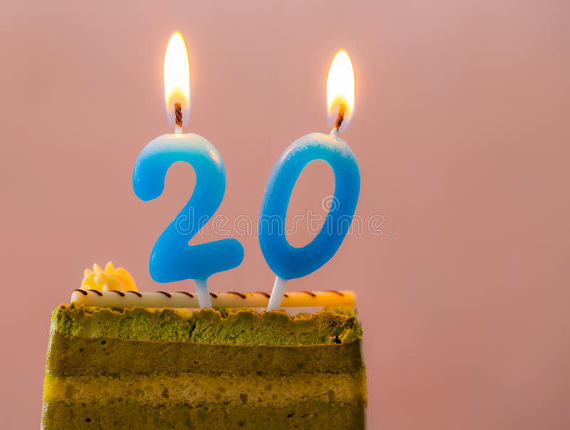 Birthday Cake. Birthday cake with the number 20 in the pink royalty free stock photo