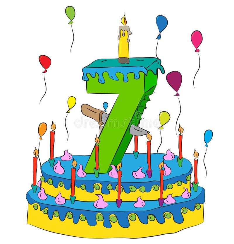 Birthday Cake With Number Seven Candle, Celebrating Seventh Year of Life, Colorful Balloons and Chocolate Coating royalty free illustration