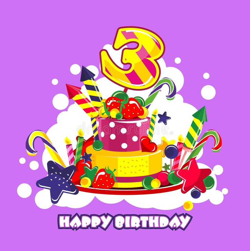 Birthday cake number. Vector illustration of birthday cake birthday sweets decorated with candles and the number of 3 year vector illustration