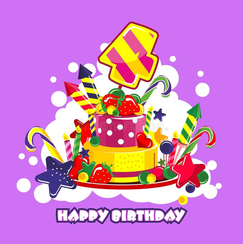 Birthday cake number. Vector illustration of birthday cake birthday sweets decorated with candles and the number of 4 year royalty free illustration