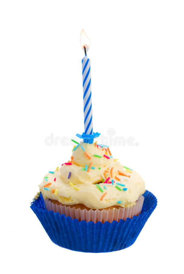Birthday cake with one candle. Birthday cake with burning one candle on white background stock images