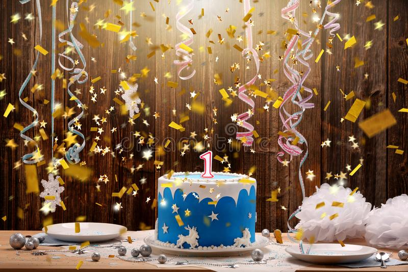 Birthday cake with one candle and confetti stock photos