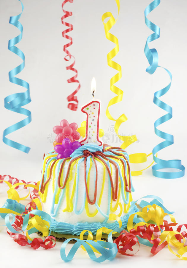 Birthday Cake One Lit Candle royalty free stock images