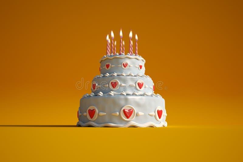 Birthday cake orange royalty free illustration