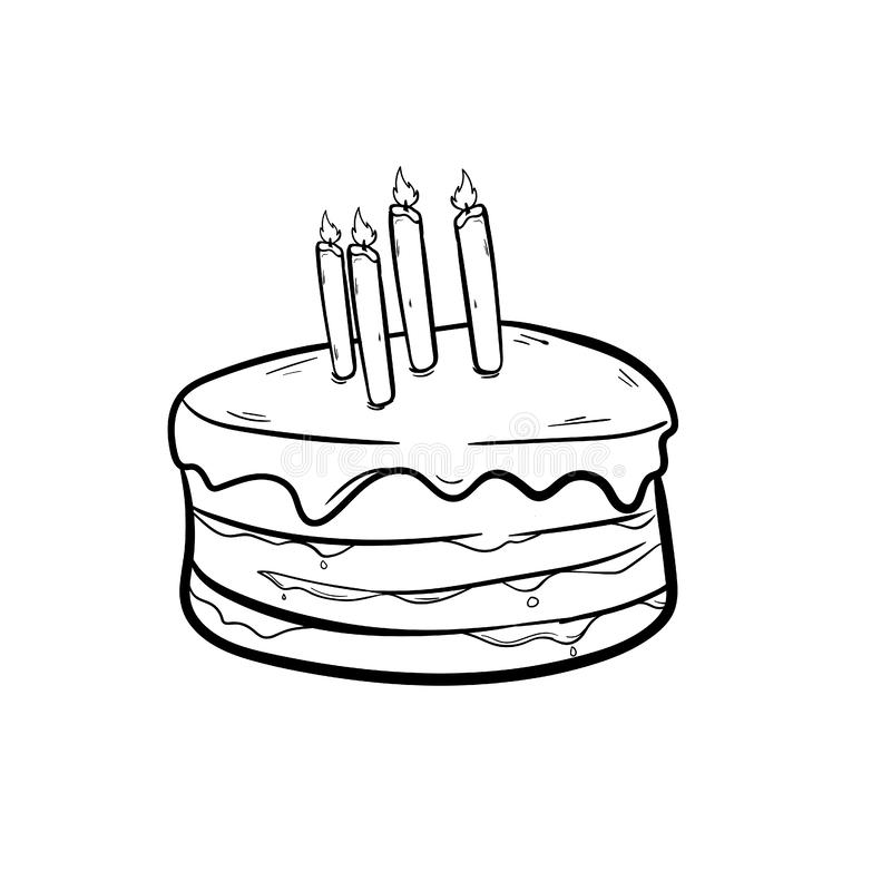 Cool Birthday Cake With Outline Using Doodle Art Stock Illustration Funny Birthday Cards Online Fluifree Goldxyz