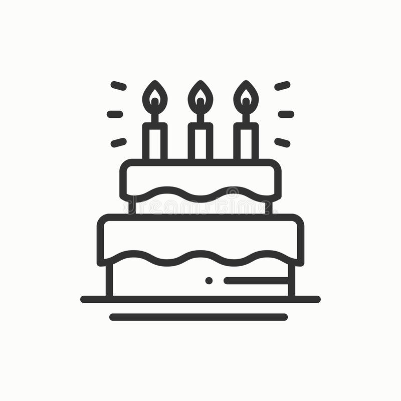 Birthday cake, pie with candles icon. Happy birthday. Party celebration birthday holidays event carnival festive. Line vector illustration