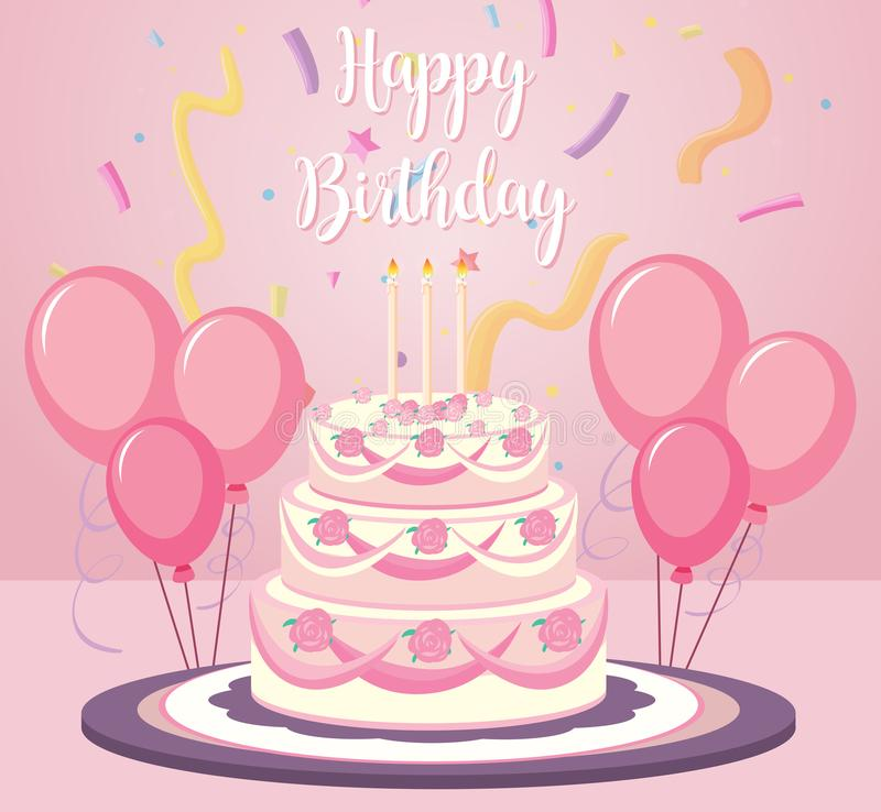 A birthday cake on pink background stock illustration