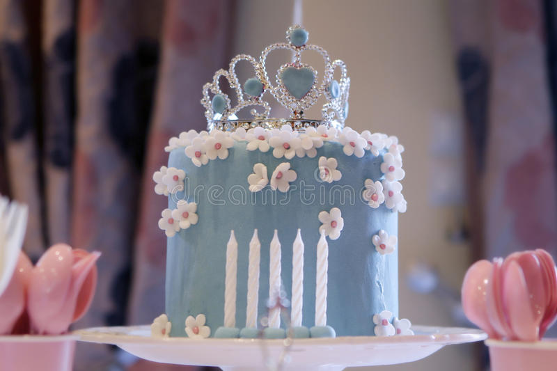 Birthday cake for a princess. Birthday cake with beautiful crown royalty free stock images